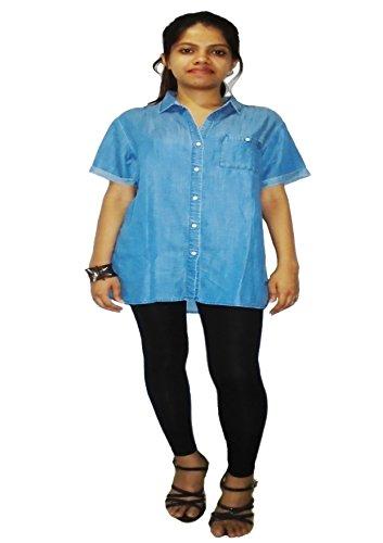 Carmino Casual Tencel Denim Blue Washed Short Sleeve Girls Shirt