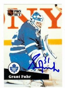 (Grant Fuhr autographed hockey card (Toronto Maple Leafs) 1991 Pro Set #494)