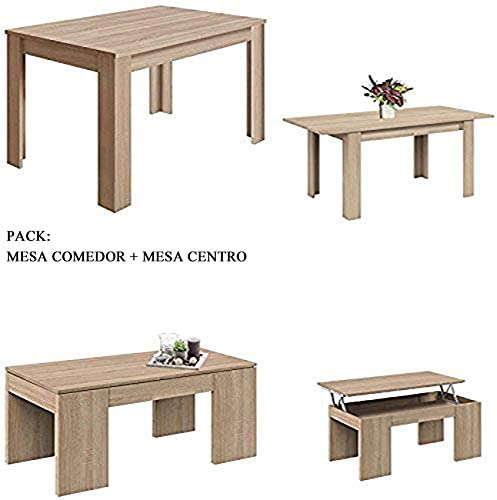 HABITMOBEL Pack Mesa de Comedor Extensible + Mesa de Centro ...