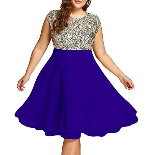 - Yucode Women Solid Sequined O-Neck Plus Size Sleeveless Chiffon Dress Casual Knee-Length Summer Dress Blue
