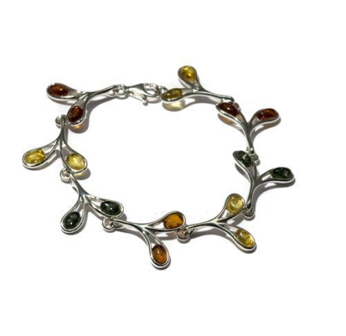(Multicolor Amber Sterling Silver Twig Collection Bracelet 7