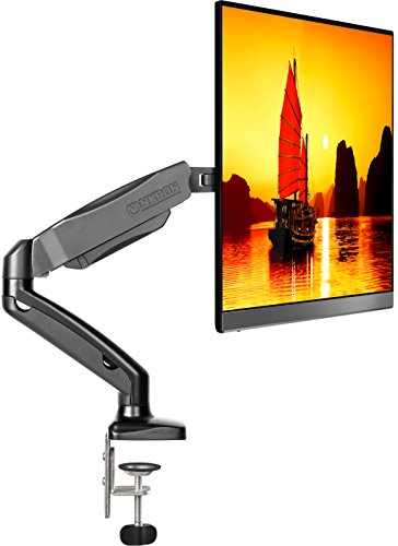 "ONKRON Desk Monitor Mount Articulating Arm for LED LCD Flat Panel TV Screens 13"" – 27 inch up to 14.3 lbs Full Motion Adjustable G80 Black"