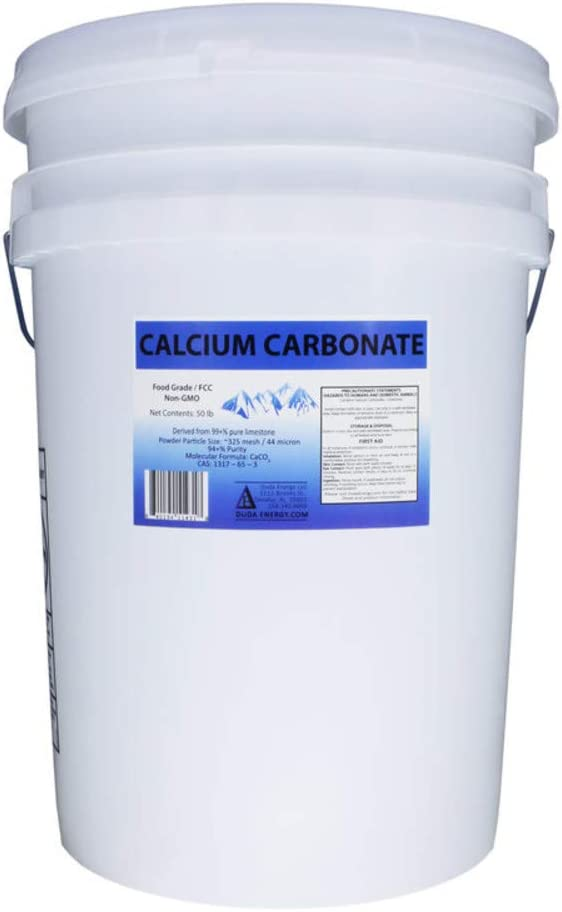 50 lb Pail of Food Grade 97+% Calcium Carbonate from Ground Limestone