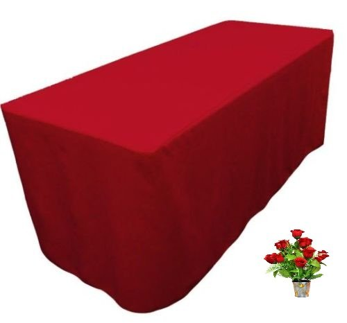 OWS 6' Feet 6 Foot Fitted Rectangle Polyester Table Cloth Tresale Table Cover Trade show Booth DJ 6 ft Red - 4 Pc