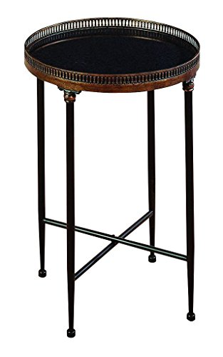 (Deco 79 Metal Marble Tea Table, 26 by 18