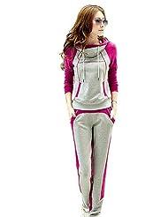 VU*LK Women's High Neck Hooded Sweatershirt Suit , fuchsia , l