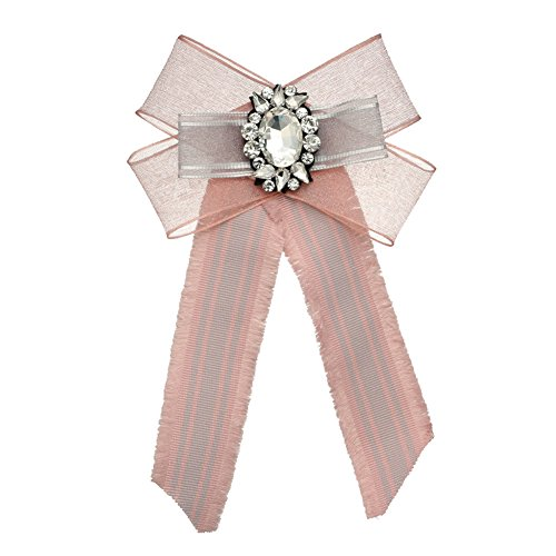Sunvy Premium Big Diamond Bohemian Bowknot Lace Brooch Pre-Tied Neck Tie Brooches Pin Bow Tie Collar Jewelry Dangle Wedding Party Bow Tie (Pink) Pink Ribbon Tie