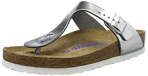 Birkenstock Women's Gizeh SFB Leather Regular Fit Sandal Metallic Silver-Silver-7