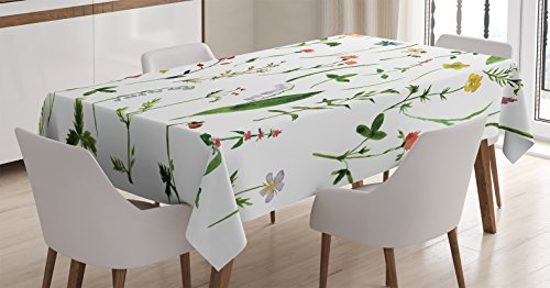 Watercolor Flower Decor Tablecloth by Ambesonne, Set of Different Kind of Flowers and Herbs Weeds Plants Petite Earth Element Print, Rectangular Table Cover for Dining Room Kitchen, 52x70 Inch, Multi