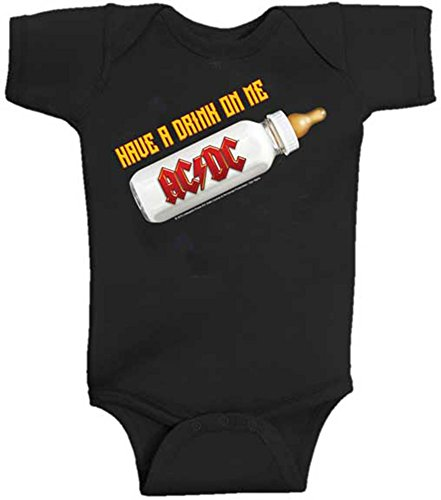 AC/DC Have A Drink On Me Baby Bodysuit, Black (12 Months)
