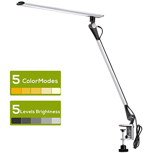 AVAWAY Metal Swing Arm Desk Lamp, Dimmable Architect Task Lamp with Clamp, 5 Brightness Levels, 5 Color Modes, Touch Control, Memory Function, Silver (Architectural Lamp)