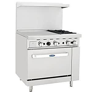 "CookRite Natural Gas Range 2 Burner Hotplates With 24"" Manual Commercial Griddle Standard Oven - 125,000 BTU"