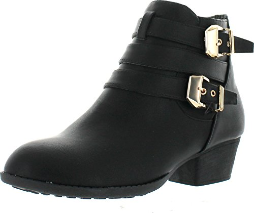 Top Moda Cl-14 Women's Buckle Straps Stacked Low Heel Ankle Booties,Black,8.5