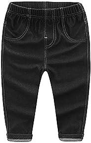 MMWORM Baby Girls Jeans Denim Style Pants Elastic Waist Trousers Stretchy Leggings