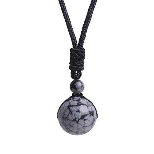 iSTONE Unisex Genuine Round Gemstone Beads Pendant Necklace Black Rope Chain 25 inch (Snowflakes Obsidian)
