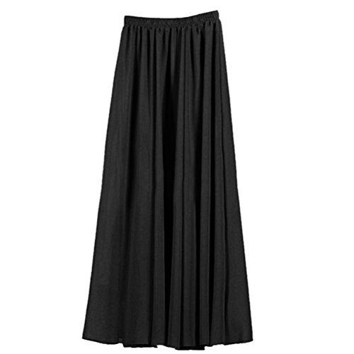 Womens Double Layer Chiffon Pleated Retro Long Skirt Elastic Waist Skirt Black 90cm 90cm Black