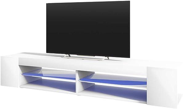 Selsey Mitchell - Mueble TV con LED/Mesa para TV/Mueble para Salón Comedor/Estilo Nórdico (180 cm, Blanco Mate/Blanco Brillante): Amazon.es: Electrónica