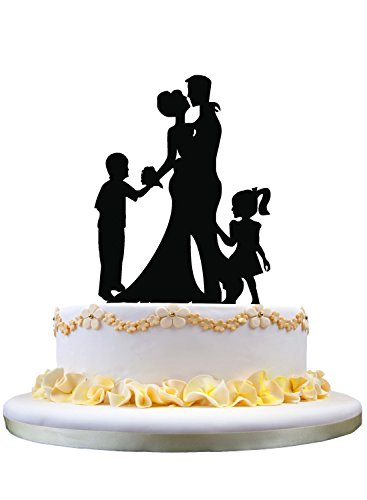 Wedding Anniversary Cake Topper couple with 2 kids (Girl and Boy) ()