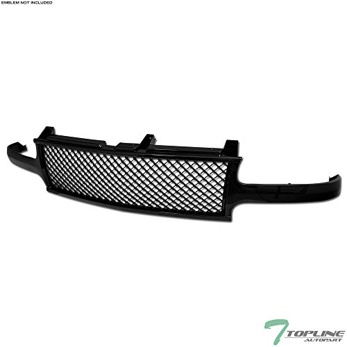 Topline Autopart Black Mesh Front Hood Bumper Grill Grille Cover Conversion V3 For 99-02 Chevy Silverado ; 00-06 - Air Radiator Scoop