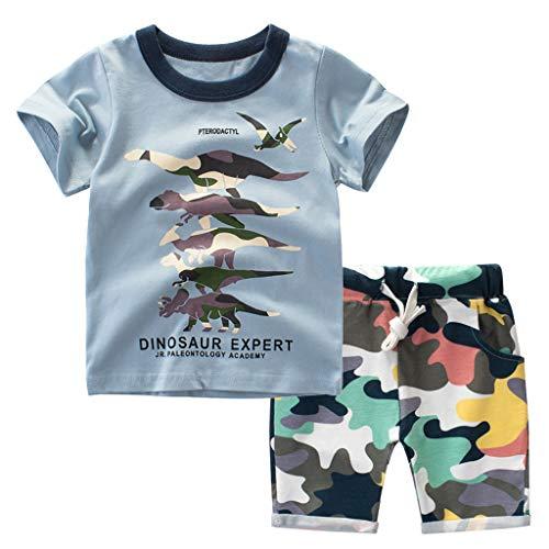 Toddler Kids Baby Cartoon Dinosaur Top T-Shirt+Camouflage Shorts Two-Piece Set(18Months-7Years) SIN