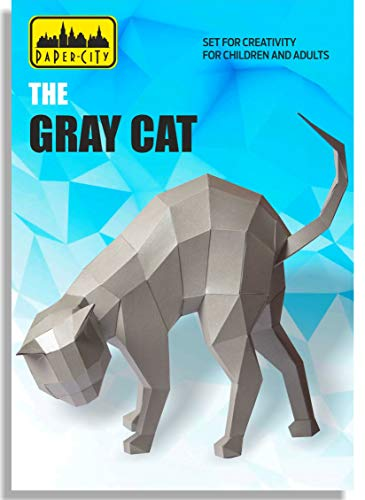 Paper City The Gray Cat Educational Toy for Teens & Kids - DIY Gift 3D Sculpture Animal Puzzle PaperCraft Kit - Learning Games and Crafts Activity for Boy & Girl
