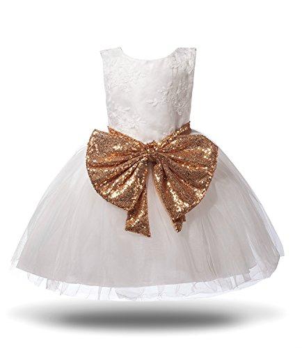 Girls Flower Bridal Dress, Kids Sequin Tulle Wedding Princess Dress (80, (Gold And White Flower Girl Dresses)