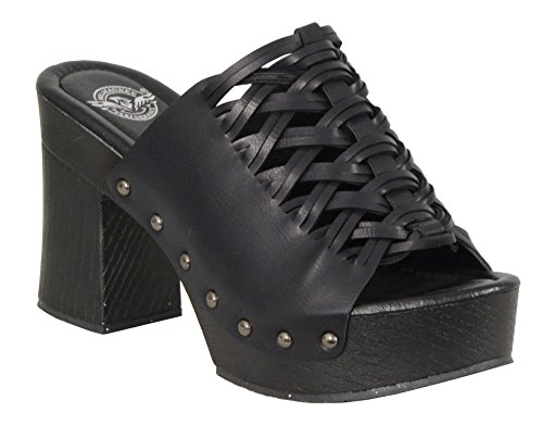 Milwaukee Performance Women's Lace Top Platform Heel Shoe with Studs (Black, Size - High Stud Knee
