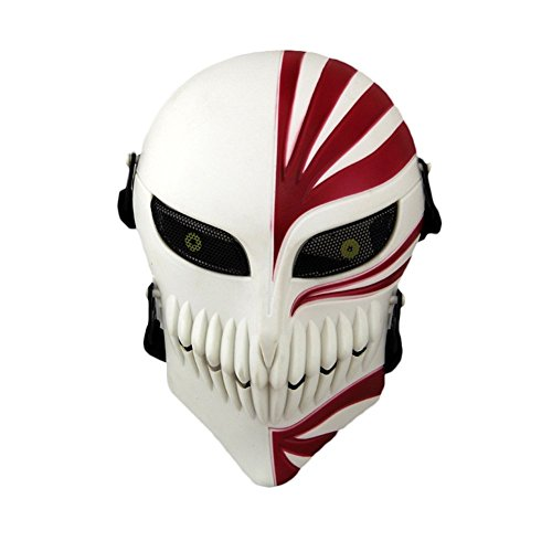 Lelly Q Full Face Airsoft Mask,Protective Tactical Skull Costume Mask with Metal Mesh Eye Protection for Airsoft/Paintball/CS/War Game/BB Gun and Halloween Party (Red&White)]()