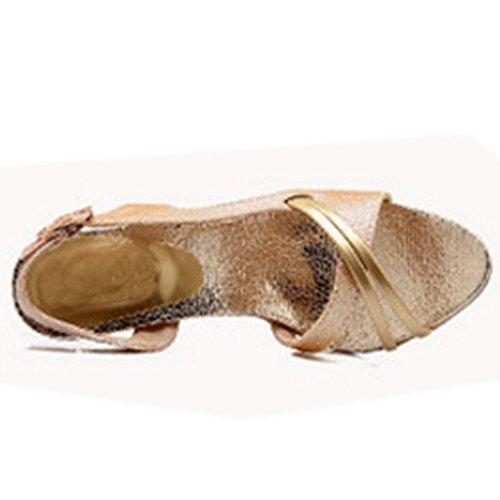 TAOFFEN Mujer Elegantee Talon Abierto Tacon de Aguja Boda Sandalias Oro