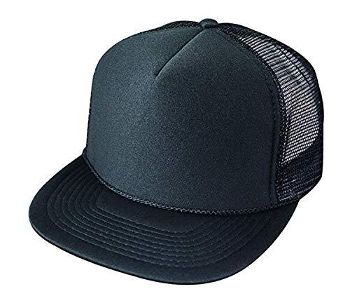 2 Packs Baseball Caps Blank Trucker Hats Summer Mesh Cap (2 for Price of 1) (5FBC - Flat Bill Mesh Cap (Black)) ()
