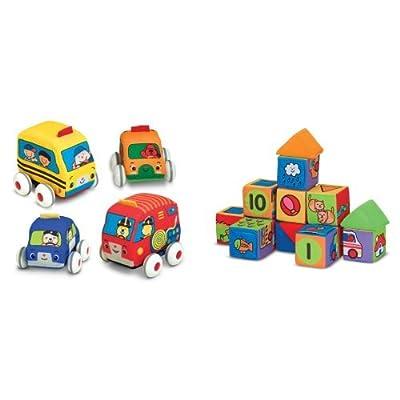 Melissa & Doug Pull-Back Vehicles & Building Blocks Bundle: Toys & Games