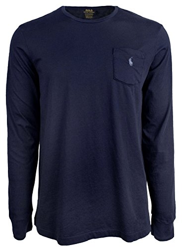 RALPH LAUREN Polo Men Long Sleeve Pony Logo T-Shirt with Pocket (Navy, M) (Lauren T-shirt Pocket Ralph)
