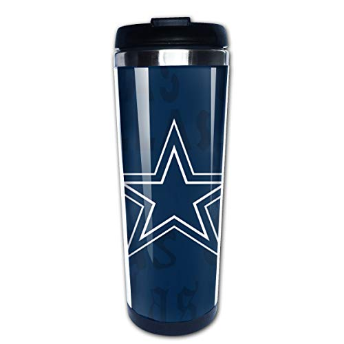 Jacoci Dallas Cowboys Double Wall Coffee Mug Vacuum Cup Travel Flask For Hot & Cold Drinks,10oz(400ml)