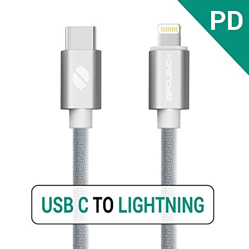 USB C PD to Lightning Fast Charging Cable, ZeroLemon USB C Power Delivery to Lightning Sync & Charging Cable for iPhone X iPhone 8 iPhone 8 Plus Connect to MacBook and other USB-C Devices( Grey, 1M)