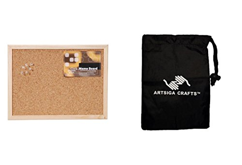 Darice Memo Board Cork w/ Push Pins and Wood Frame 12 x 16in. (20 Pack) 9172 63 bundled with 1 Artsiga Crafts Small Bag by Homeline Goods Memo Boards