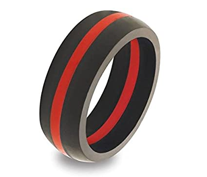 Rubber Wedding Rings.Thin Red Line Silicone Wedding Engagement Ring Band For Men Active Wear For Firefighter Hypoallergenic Black With Red Stripe Rubber Sports Crossfit