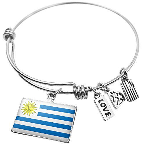 (NEONBLOND Expandable Wire Bangle Bracelet Uruguay Flag)