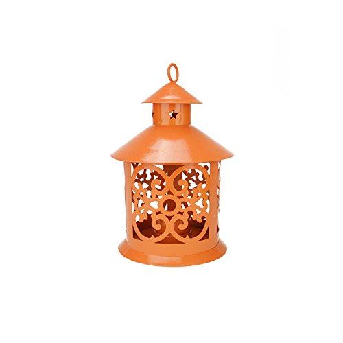 Northlight Shiny Orange Votive or Tea Light Candle Holder Lantern with Star and Scroll Cutouts, (Scroll Candle)