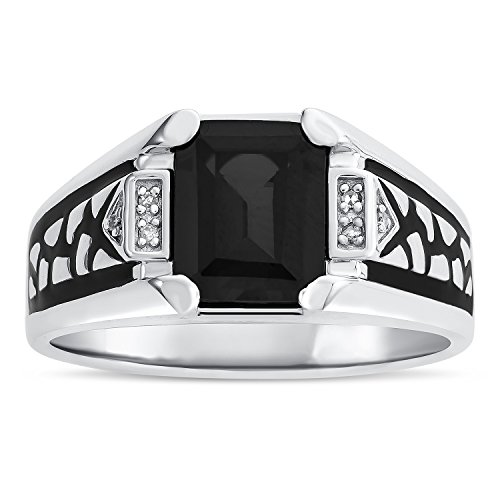 Men's Black Onyx Birthstone Ring in Sterling Silver - Size 11 by Esty & Me (Image #2)