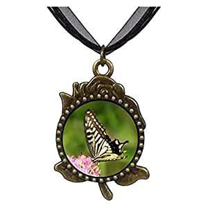 Chicforest Bronze Retro Style Beautiful Gather Pollen Butterfly Rose Flower Pendant