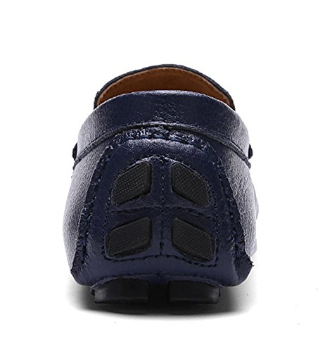 SK Studio Herren Einfarbig Leder Mokassin Schuhe Männer Freizeit Atmungsaktiv Slipper Fahren Schuhe Loafers Halbschuhe Blau