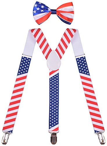 BODY STRENH Mens Suspenders and Bow Tie Set Y Shape American Flag