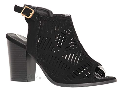 - MVE Shoes Women's Open Toe Cut Out Mid Heel Sandal - Ankle Strap Faux Leather Dress Shoes - Sexy Stacked Sandal, Black 9