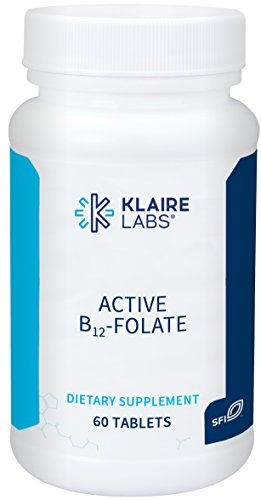 Klaire Labs Active B12-Folate Lozenges - High Potency Methylcobalamin and Metafolin (60 Dissolvable Tablets)