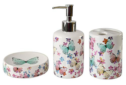 Home-X Bathroom Butterfly Decor with Toothbrush Holder, Soap Dish, and Soap Dispenser -