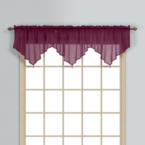 United Curtain Monte Carlo Sheer Ascot Valance, 40 by 22-Inch, Burgundy