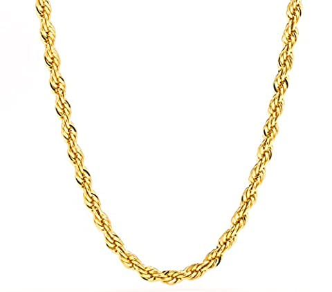 Lifetime Jewelry 5MM Rope Chain, 24K Gold with Inlaid Bronze Premium Fashion Jewelry Pendant Necklace Made to Wear Alone or with Pendants, Guaranteed for Life, 20 - 18k Rope Necklace