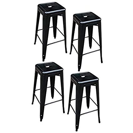 Amazoncom Amerihome Metal Bar Stool Set 30 Inch Black Set Of 4