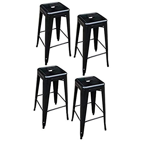 Surprising Amerihome Metal Bar Stool Set 30 Inch Black Set Of 4 Pabps2019 Chair Design Images Pabps2019Com