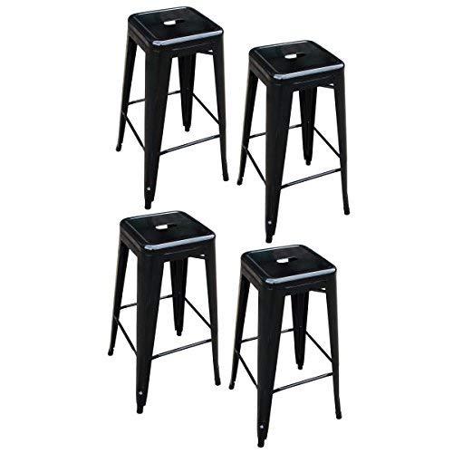 AmeriHome Metal Bar Stool Set, 30-Inch, Black, Set of 4